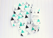 Stacked Triangles Organic Swaddling Blanket - Teal / Gray / Black - CAVU Creations