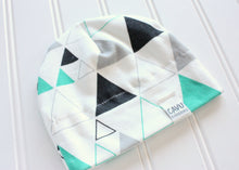 Stacked Triangles Organic Beanie - Teal / Gray / Black - CAVU Creations