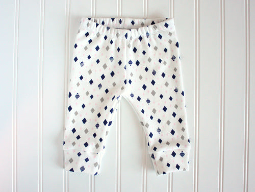 Diamonds Organic Baby Leggings - Pink / Navy / Gray - CAVU Creations