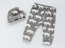 Elephants Organic Baby Leggings - White / Gray - CAVU Creations