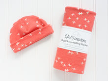 Plus Signs (Wink) Organic Swaddling Blanket - White / Dark Coral - CAVU Creations