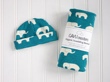 Elephants Organic Swaddling Blanket - White / Teal - CAVU Creations