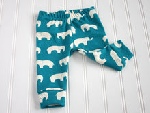 Elephants Organic Baby Leggings - White / Teal - CAVU Creations