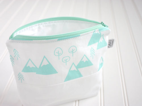Mountains + Trees Zipper Pouch - Mint / White - CAVU Creations