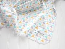 Triangle Mountains Organic Swaddling Blanket - Aqua / Gray / Yellow / White - CAVU Creations