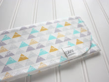 Triangle Mountains Organic Burp Cloths (Set of 2) - Aqua / Gray / Yellow / White - CAVU Creations