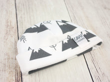 Mountains + Trees Organic Beanie - Charcoal Gray / White - CAVU Creations