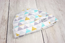 Triangle Mountains Organic Beanie - Aqua / Gray / Yellow / White - CAVU Creations
