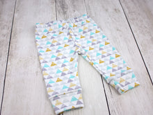 Triangle Mountains Organic Baby Leggings - Aqua / Gray / Yellow / White - CAVU Creations