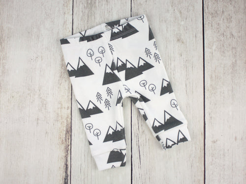 Mountains + Trees Organic Baby Leggings - Charcoal Gray / White - CAVU Creations