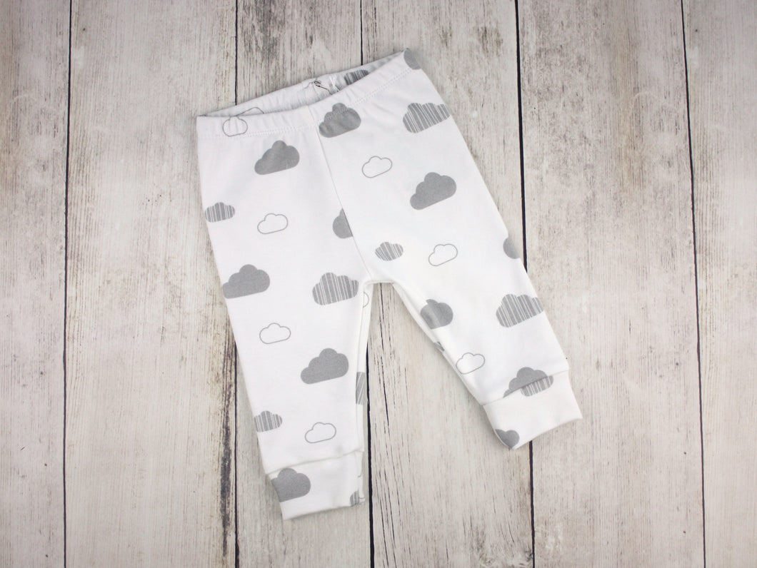 Clouds Organic Baby Leggings - Gray / White - CAVU Creations