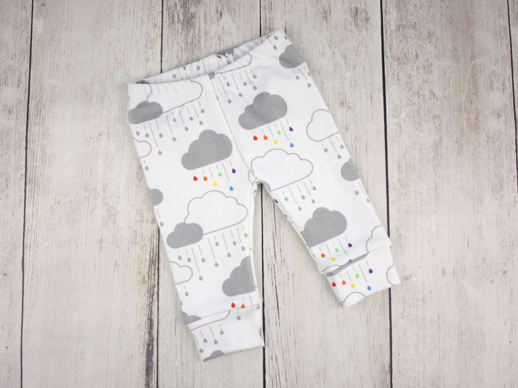 Clouds + Rain Organic Baby Leggings - Rainbow / Gray on White - CAVU Creations