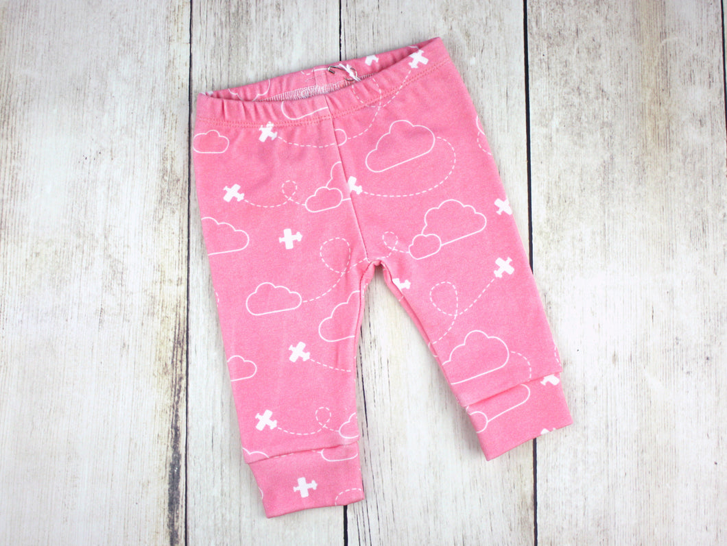 Airplanes in Clouds Organic Baby Leggings - White / Coral Pink - CAVU Creations