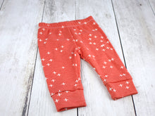 Plus Signs (Wink) Organic Baby Leggings - White / Dark Coral - CAVU Creations