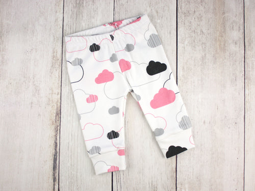 Clouds Organic Baby Leggings - Pink / Gray / Black / White - CAVU Creations