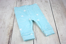 Airplanes in Clouds Organic Baby Leggings - White / Aqua - CAVU Creations