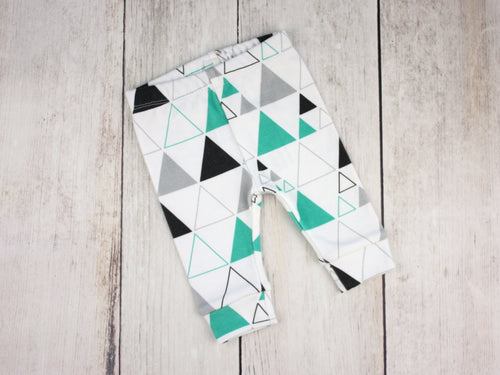 Stacked Triangles Organic Baby Leggings - Teal / Gray / Black / White - CAVU Creations