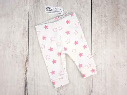 Stars Organic Baby Leggings - Pink / White - CAVU Creations