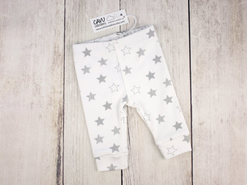 Stars Organic Baby Leggings - Gray / White - CAVU Creations