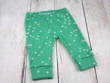 Plus Signs (Wink) Organic Baby Leggings - White / Green - CAVU Creations