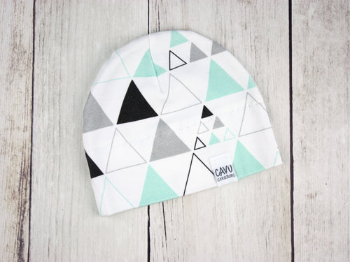 Stacked Triangles Organic Beanie - Mint / Gray / Black - CAVU Creations