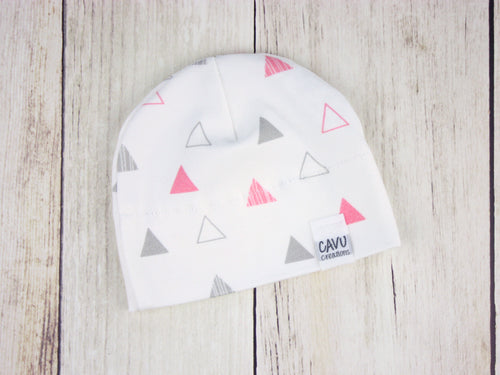 Triangles Organic Beanie - Coral Pink / Gray - CAVU Creations