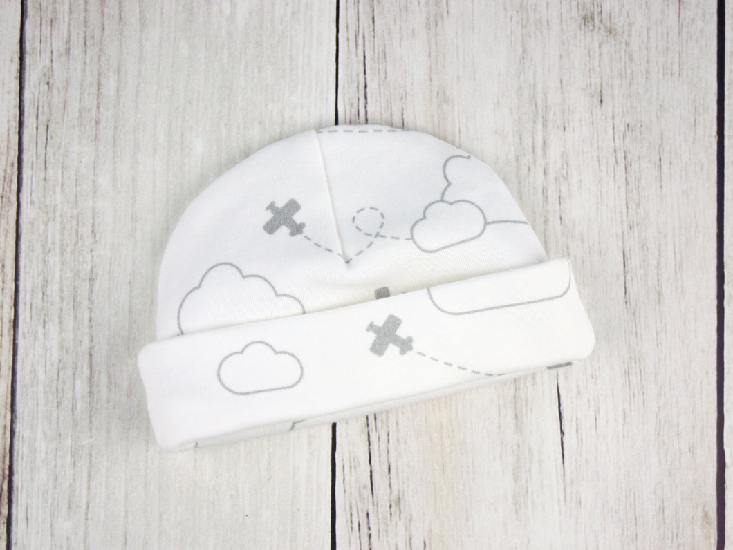 Airplanes in Clouds Organic Beanie - Gray / White - CAVU Creations