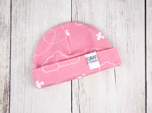 Airplanes in Clouds Organic Beanie - White / Coral Pink - CAVU Creations