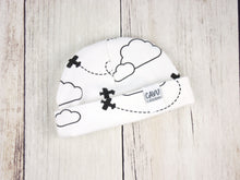 Airplanes in Clouds Organic Beanie - Black / White - CAVU Creations