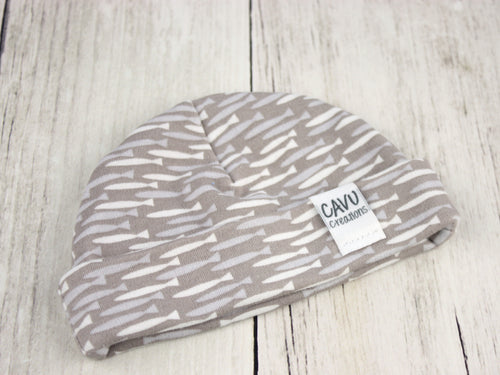 Fish Organic Beanie - Gray / Blue / White - CAVU Creations