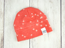 Plus Signs (Wink) Organic Beanie - White / Dark Coral - CAVU Creations