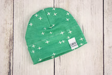 Plus Signs (Wink) Organic Beanie - White / Green - CAVU Creations