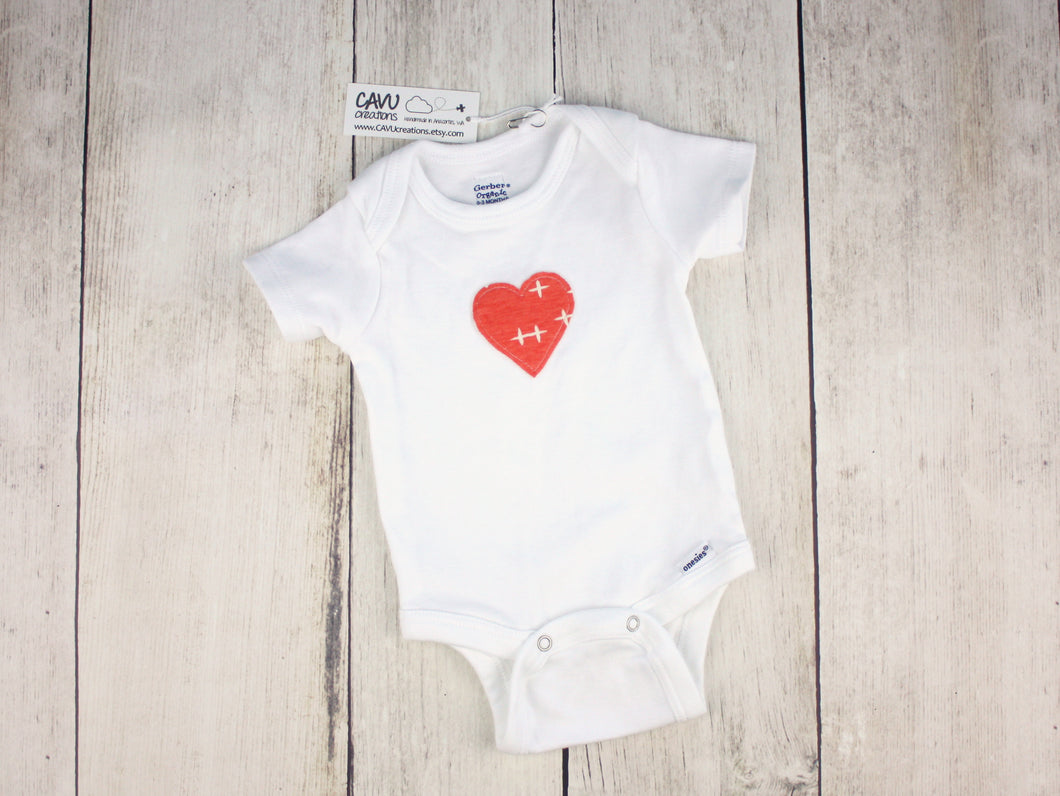 Heart Organic Bodysuit - White / Dark Coral - CAVU Creations