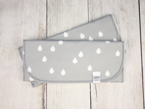 Rain Drops Organic Burp Cloths (Set of 2) - White / Gray - CAVU Creations