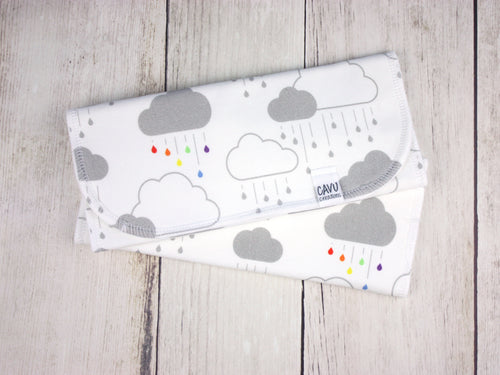 Clouds + Rain Organic Burp Cloths (Set of 2) - Rainbow / Gray - CAVU Creations