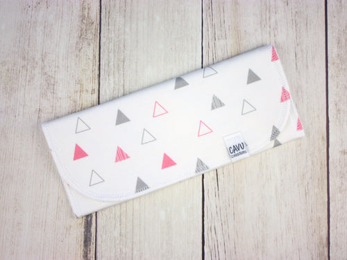 Triangles Organic Burp Cloth - Coral Pink / Gray - CAVU Creations