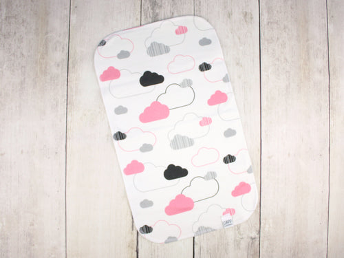 Clouds Organic Burp Cloth - Coral Pink / Black / Gray - CAVU Creations