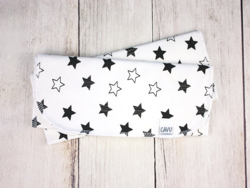 Stars Organic Burp Cloths (Set of 2) - Black / White - CAVU Creations