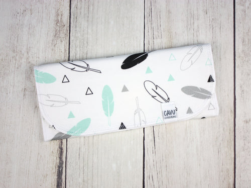 Tribal Feathers Organic Burp Cloth - Mint / Gray / Black - CAVU Creations