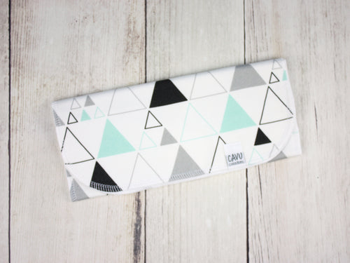 Stacked Triangles Organic Burp Cloth - Mint / Gray / Black - CAVU Creations