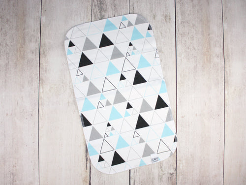 Stacked Triangles Organic Burp Cloth - Aqua / Gray / Black - CAVU Creations