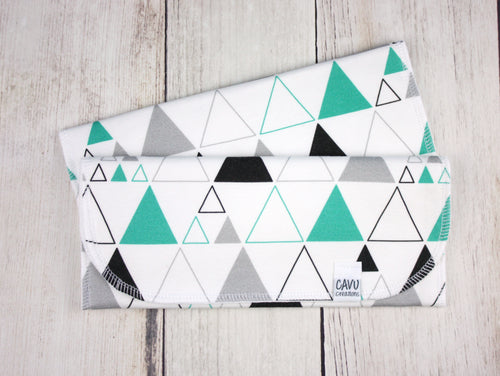 Stacked Triangles Organic Burp Cloths (Set of 2) - Teal / Gray / Black - CAVU Creations