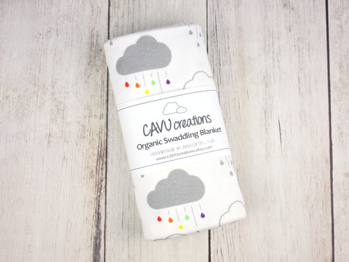 Clouds + Rain Organic Swaddling Blanket - Gray / Rainbow on White - CAVU Creations
