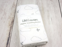 Airplanes in Clouds Organic Swaddling Blanket - Gray / White - CAVU Creations