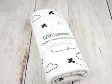Airplanes in Clouds Organic Swaddling Blanket - Black / White - CAVU Creations