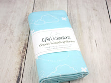 Airplanes in Clouds Organic Swaddling Blanket - White / Aqua - CAVU Creations