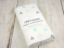 Triangles Organic Swaddling Blanket - Mint / Gray - CAVU Creations
