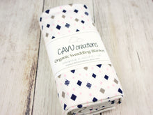 Diamonds Organic Swaddling Blanket - Pink / Navy / Gray - CAVU Creations