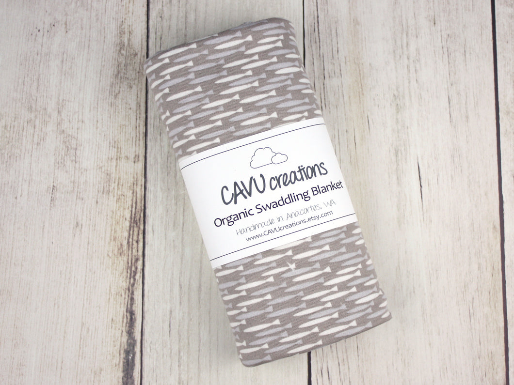 Fish Organic Swaddling Blanket - Gray / Blue / White - CAVU Creations