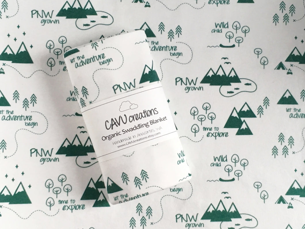 PNW Organic Swaddling Blanket - Forest Green / White - CAVU Creations